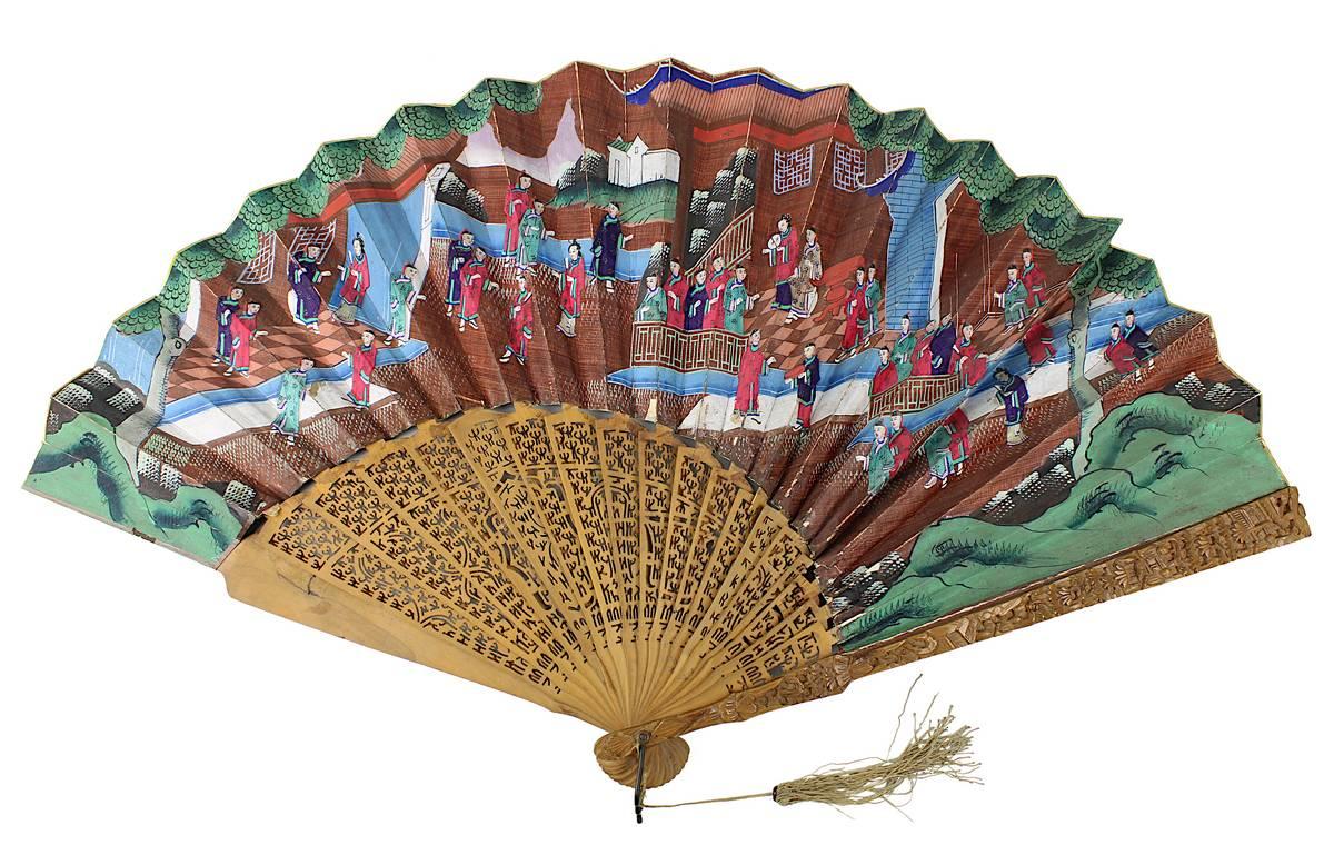 1-0020 - Chinesischer Papierfächer mit figürlichen Szenen, China um 1900 Image