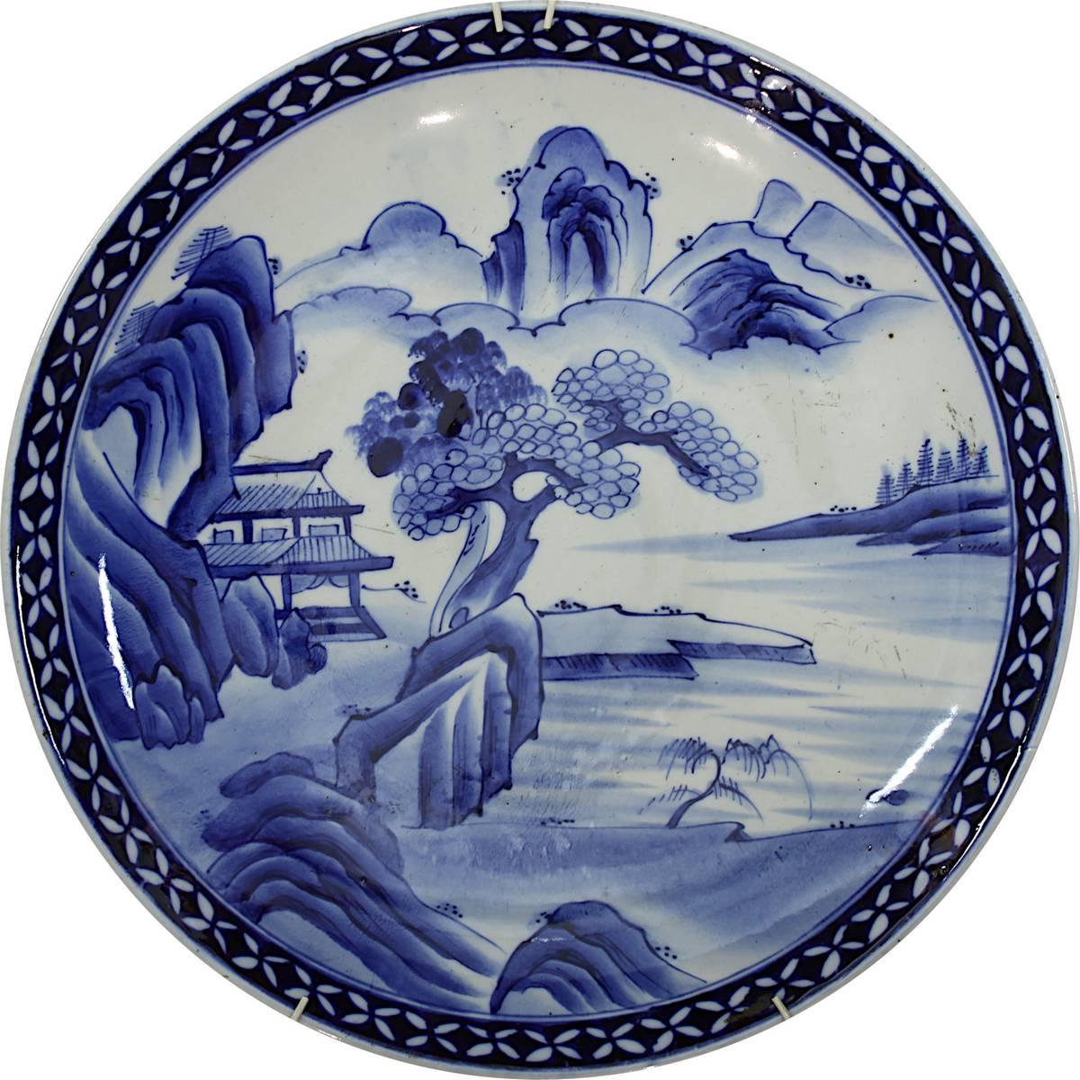 1-0023 - Großer chinesischer Porzellanteller mit Landschaftsansicht Image