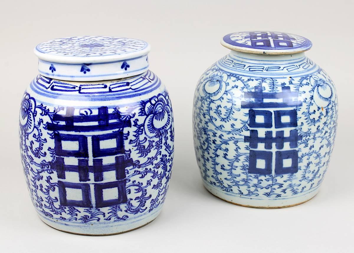 1-0024 - Zwei Ingwer-Schultertöpfe, China 19. Jh. Image