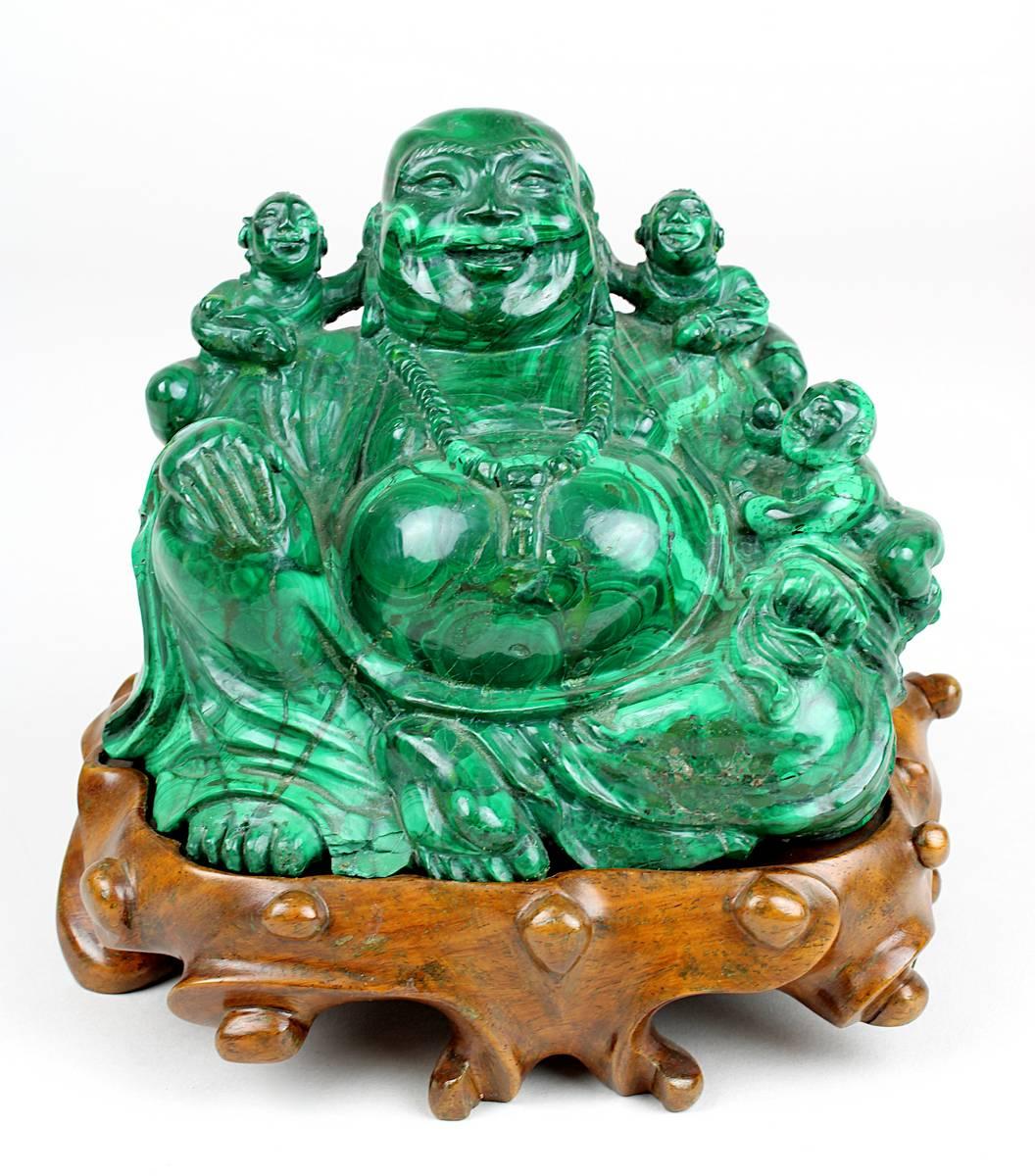 1-0031 - Malachit-Glücksbuddha-Figur, China um 1950 Image