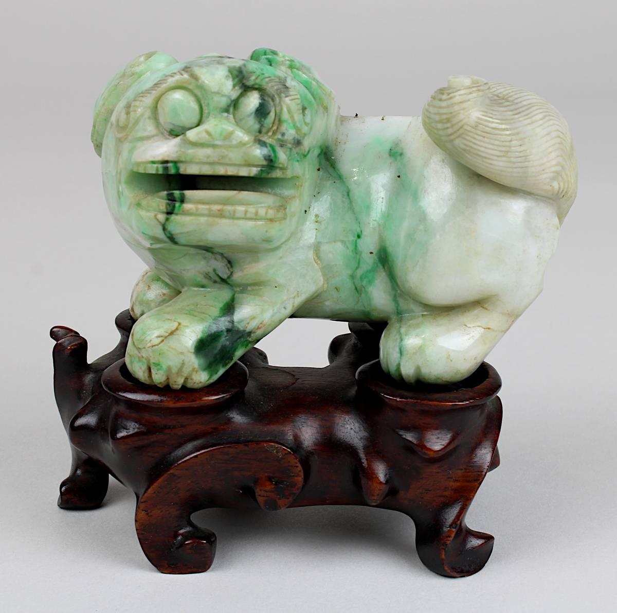 1-0033 - Chinesischer Fo-Hund aus grünweißer Jade Image