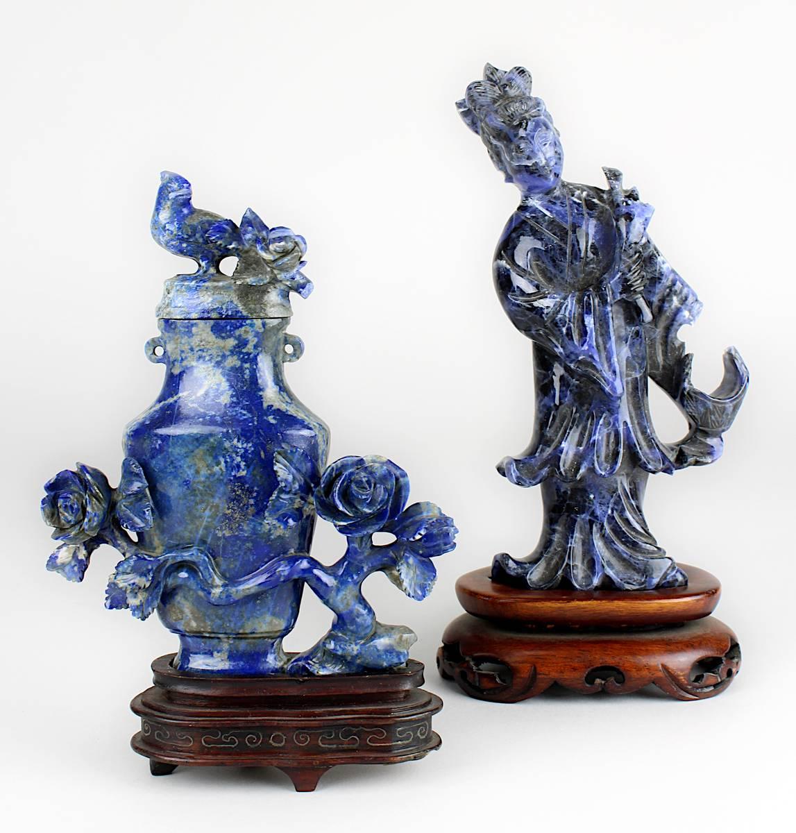 1-0034 - Chinesische Frauenfigur und Miniatur-Deckelvase aus Lapislazuli Image
