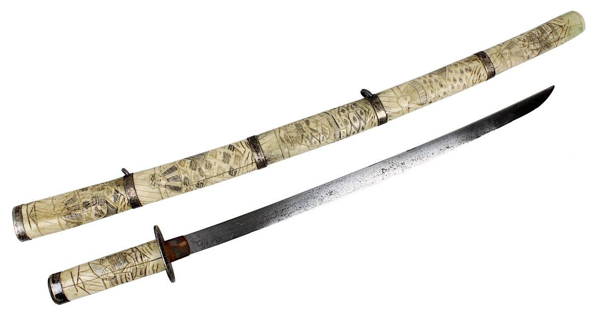 1-0042 - Wakizashi mit Griff und Scheide aus Bein, Japan 19. Jh. Image