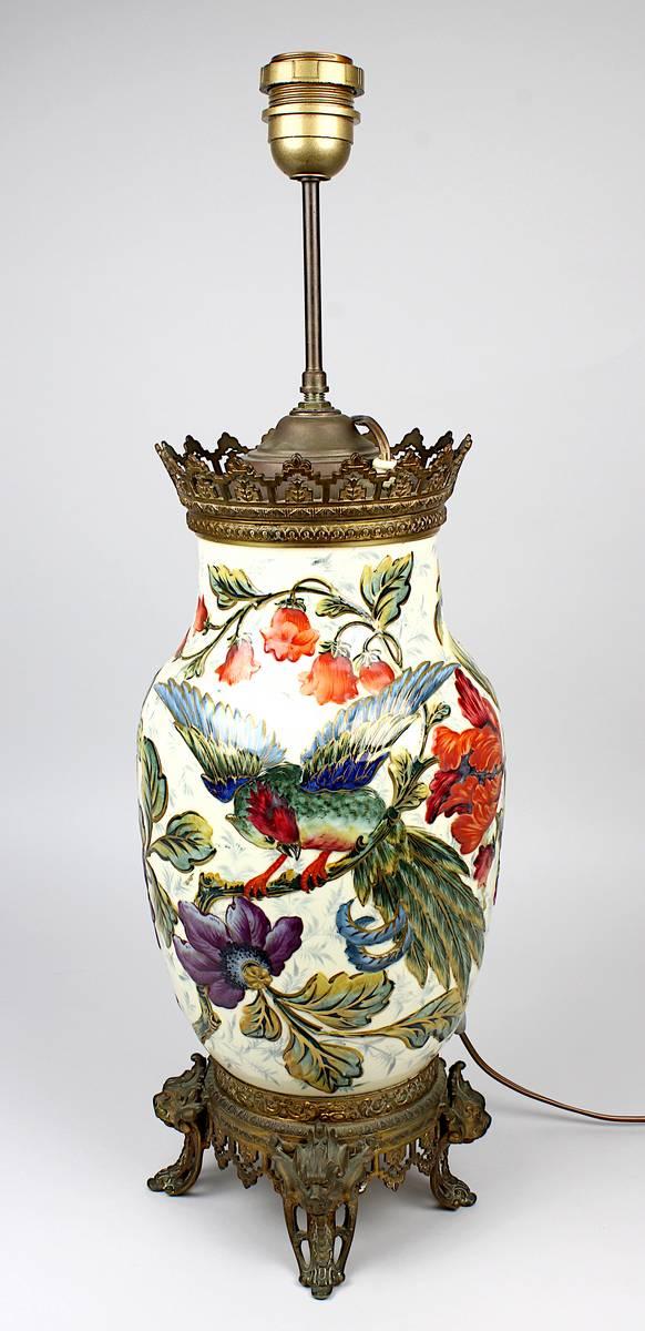11-0012 - Keramik-Lampenfuß in Metallmontur, Frankreich um 1880 Image