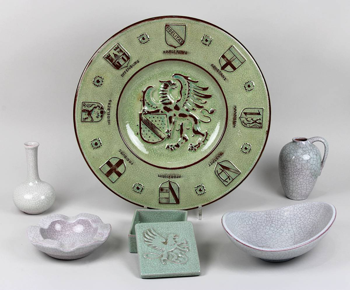 11-0016 - Konvolut Karlsruher Majolika Keramik 1950er Jahre Image