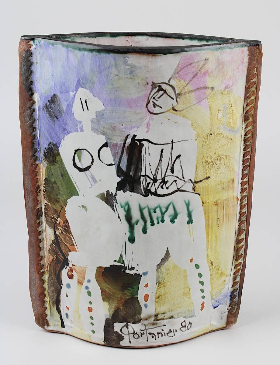 11-0040 - Portanier, Gilbert (geb. Cannes 1926), handbemalte Vase in Form eines Ledersacks Image