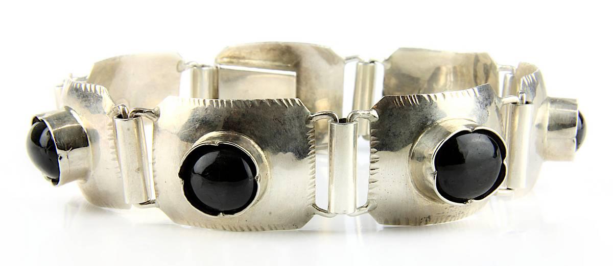 13-0004 - Art-Déco Silberarmband mit Katzenaugen-Steinen Image