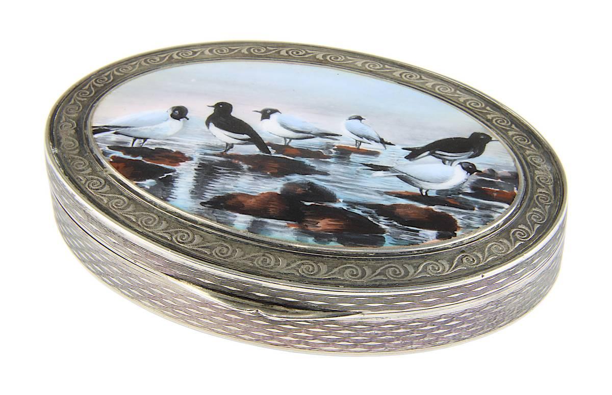 13-0005 - Jugendstil-Silberdose mit Möwenmotiv in Email Image