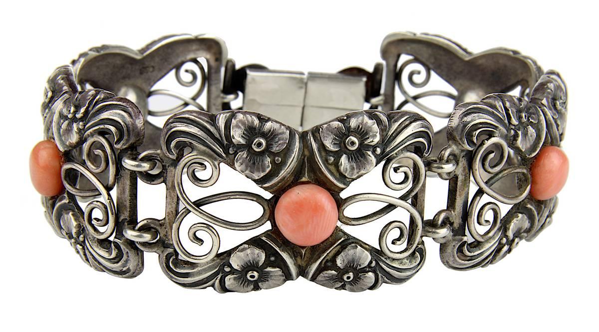 13-0007 - Art-Déco Silberarmband mit Korallen Image