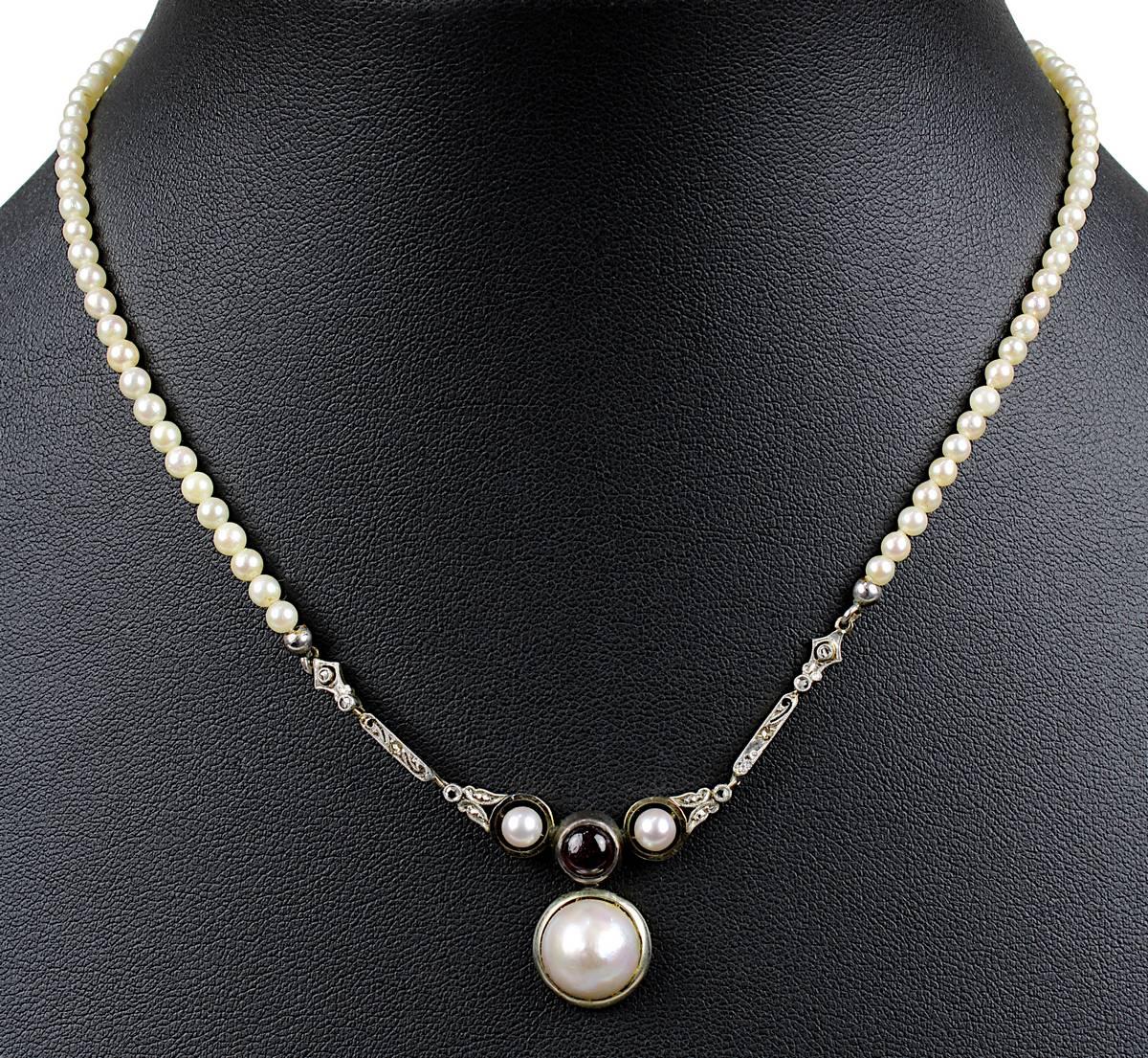 13-0010 - Jugendstil-Perlencollier mit Granat und Diamanten Image