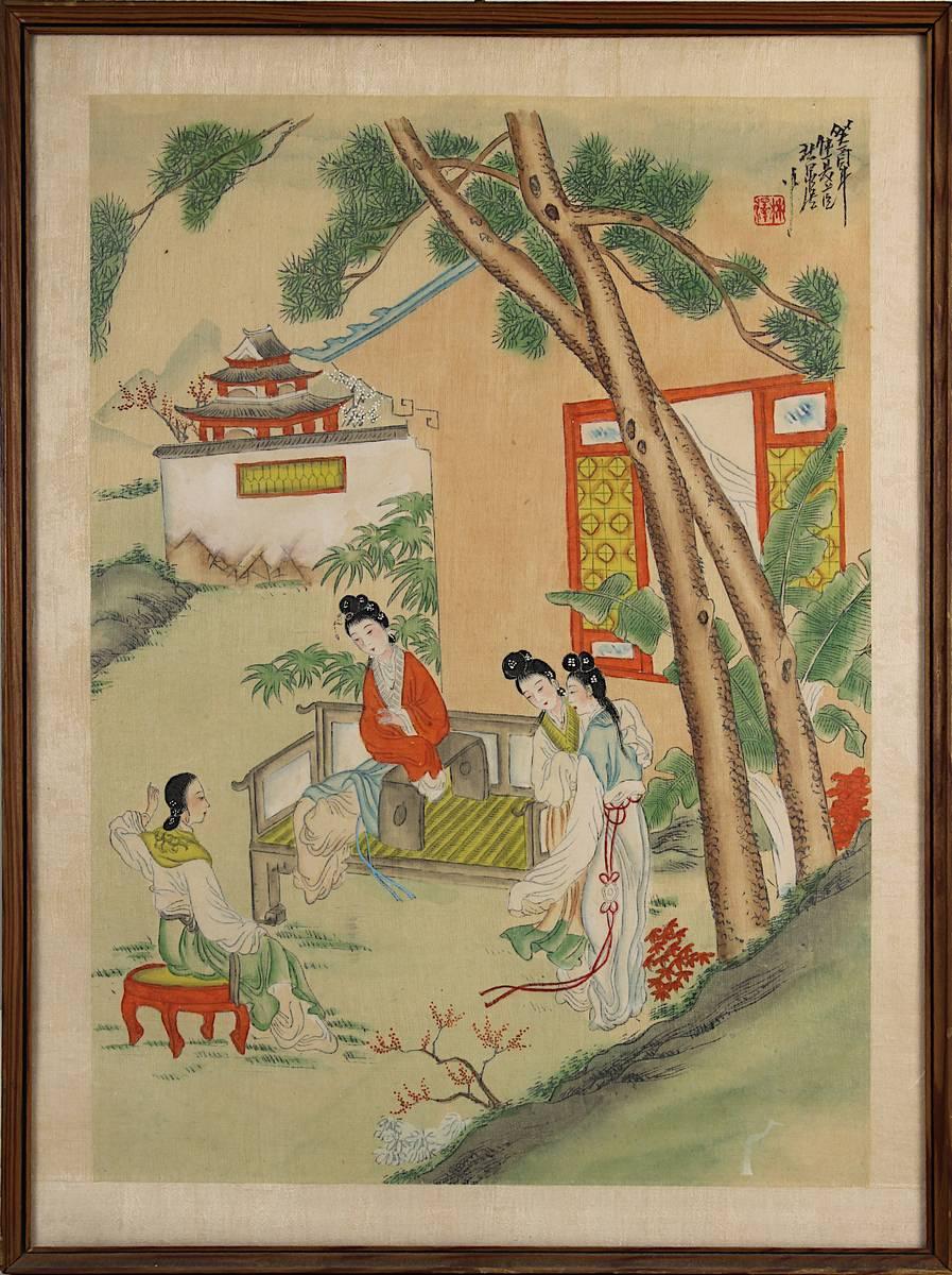 2-0014 - Chinesisches Seidenbild, Damen im Garten Image