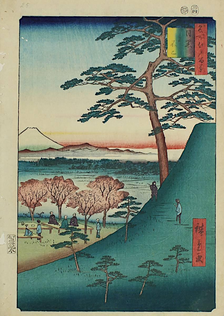 2-0026 - Hirokage, Utagawa (tätig um 1855 - 1865), Landschaft mit Personen u. Blick auf den Fuji Image
