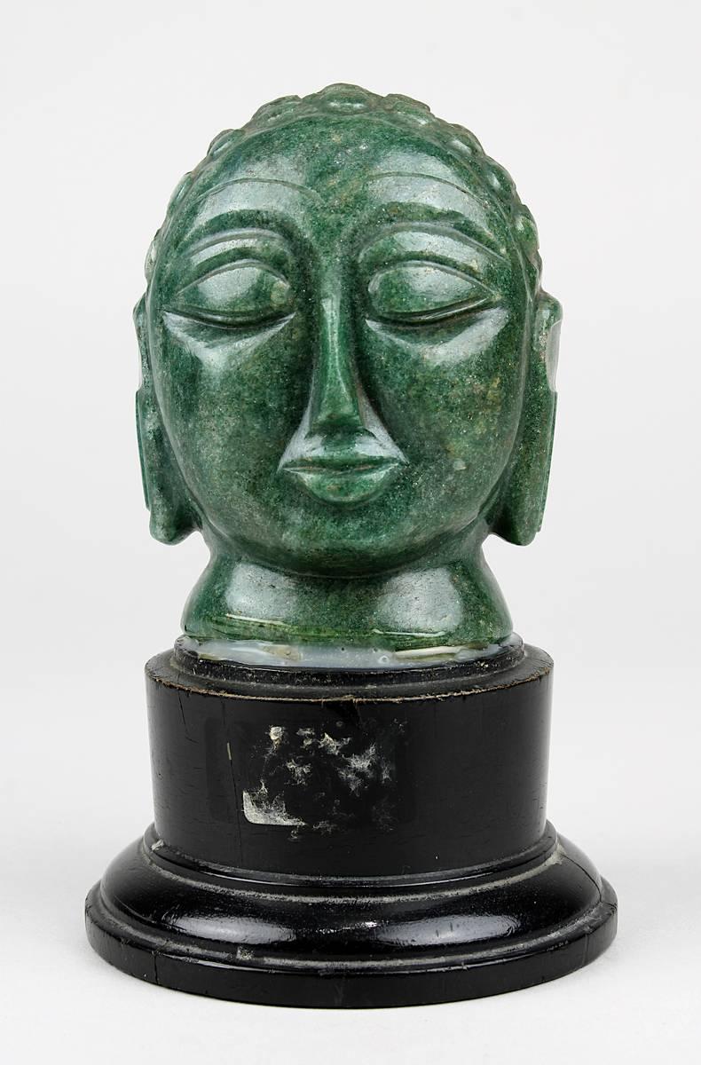 2-0027 - Buddha-Kopf aus Aventurin geschnitzt, Indien um 1920 Image