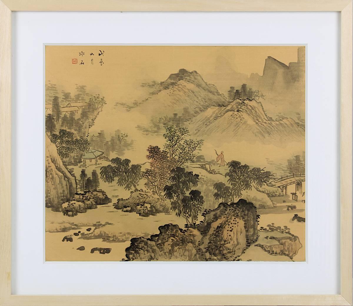 2-0034 - Chinesisches Landschaftsaquarell auf Seide Image